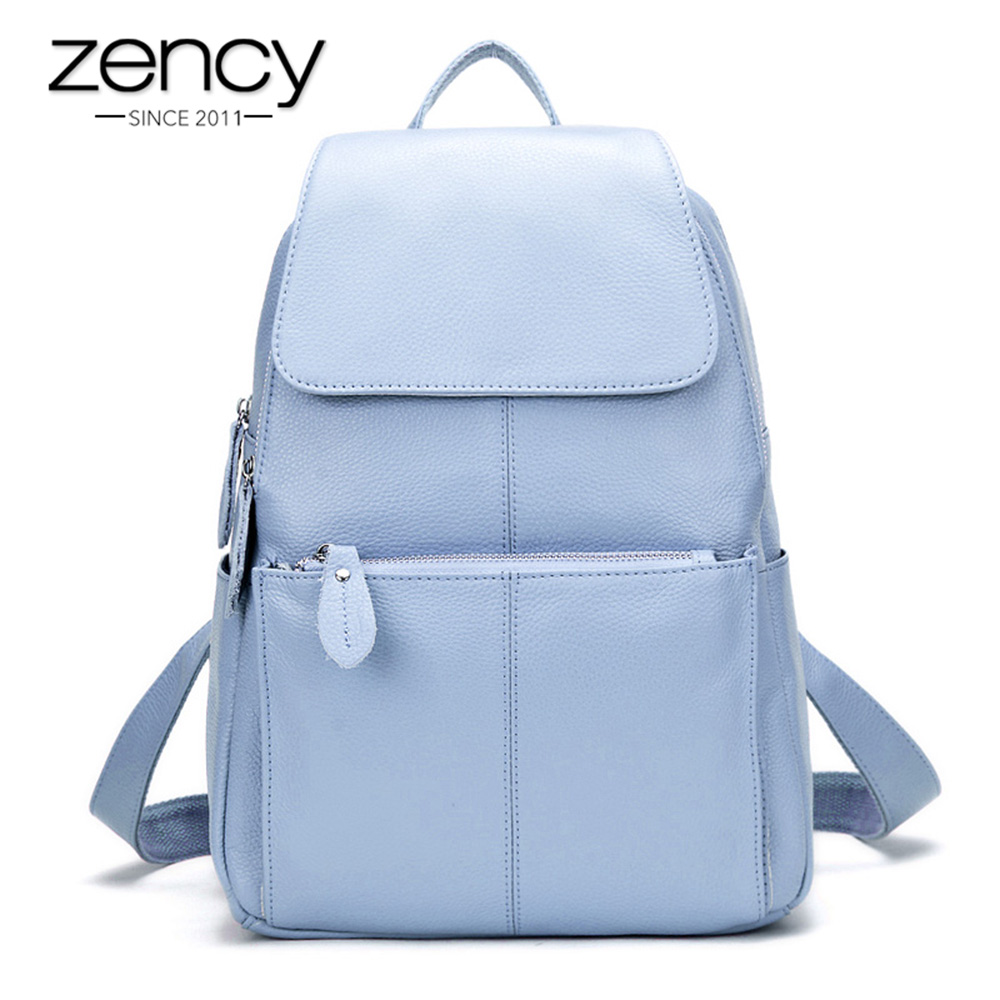 Zency 14 Couleurs 100% En Cuir Véritable sac à dos pour femme De Mode sac de voyage pour femme Preppy Style cartables pour filles Ordinateur Portable Sac À Dos