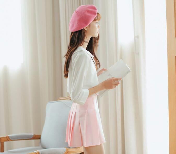 Elegant half pleated high waist mini skirt 5