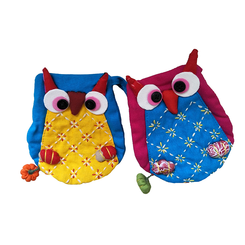 M045 2017 Creative Women Purses Cute Cartoon Owl Series National Style Cotton Cloth Bag Coin Bag Key Data Cable Package