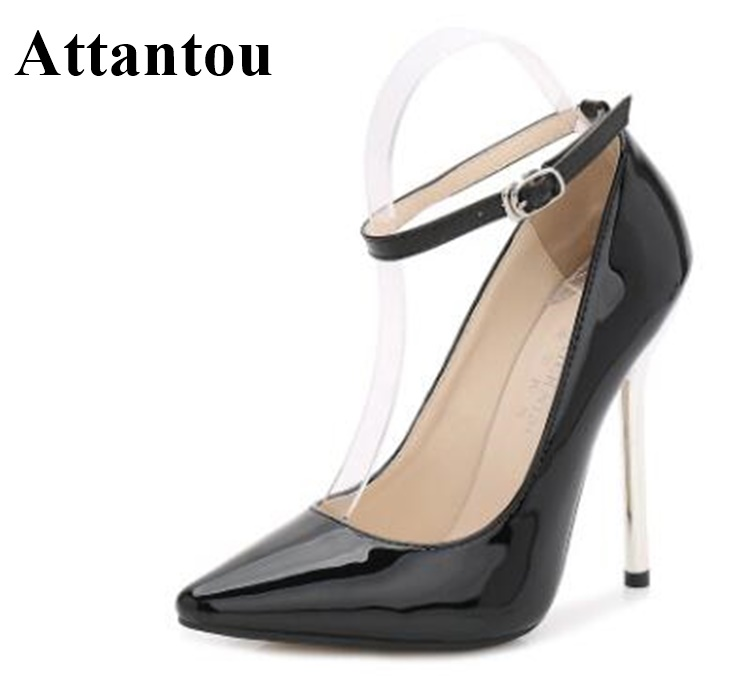 New Arrival Stiletto Pumps Women High Heel Patent Leather Evening Party Dress Shoes Straps Ankle Wrap 13cm Heeled Pointed Toe
