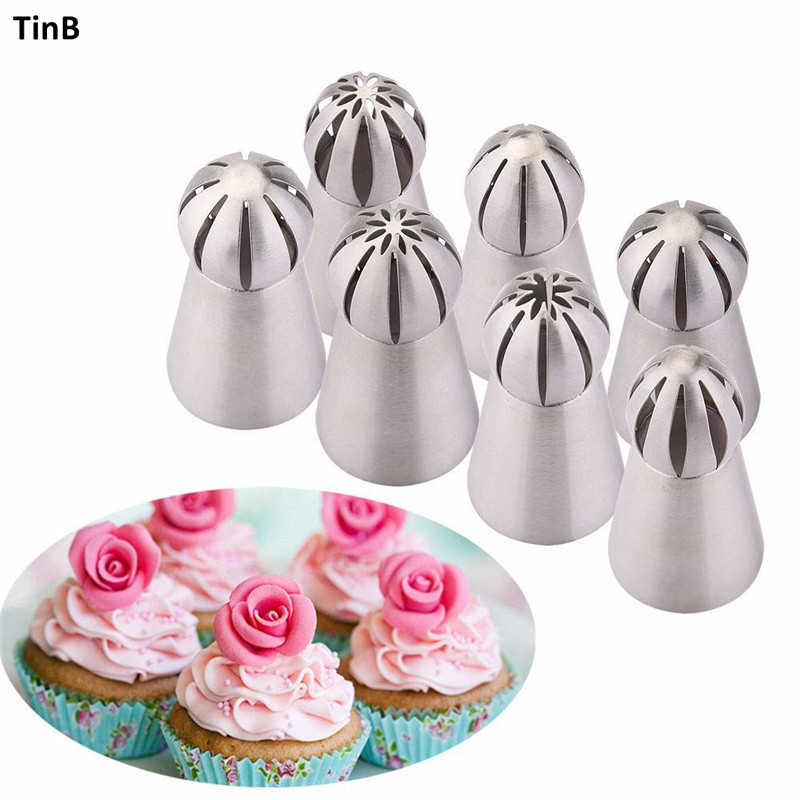 Kue Dekorasi Alat 7 Buah/Set Bola Piping Tips Bola Nozel Cream Bunga Stainless Steel Torch Rusia Icing Perpipaan Nozel Set