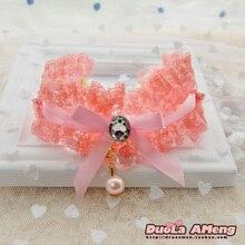 NICE PET lace diamond pearl pendant necklace jewelry lace pet dog collar necklace