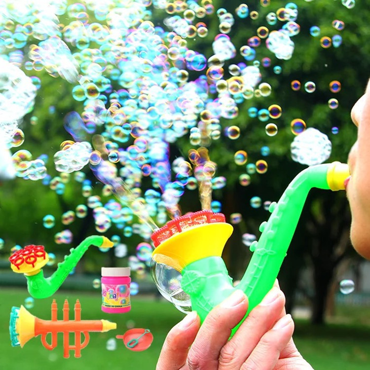 1set 15cm Multi Music style Soap Bubble Concentrate stick with no liquild Sax Tuba horn kid Gazillion bar blowing bubble d22
