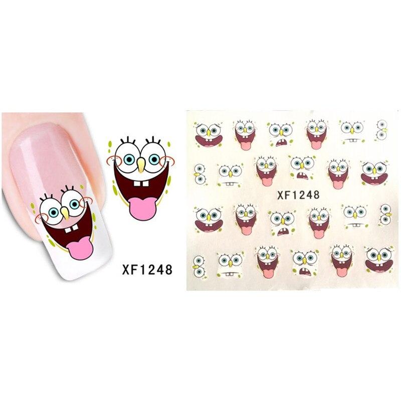 Cute DIY Cartoon SpongeBob Design Nail Art Tips Sticker - Spongebob nail decals