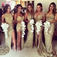 Gold Sequins Long Bridesmaid Dress Sexy High Slit Discount Cheap Backless Bridesmaids Gown A B C D