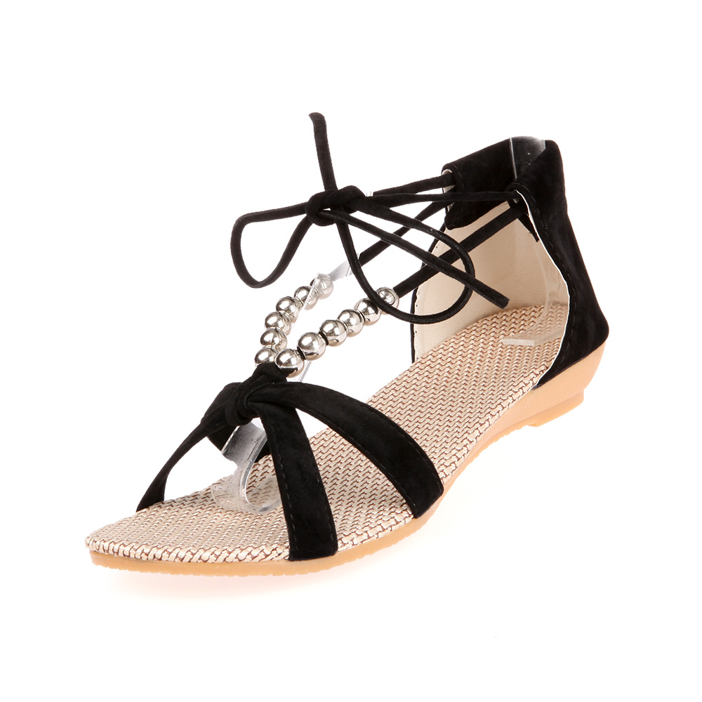 2016 Summer Fashion Slippers flat heel sandals beaded lacing gladiator small wedges shoes casual shoes size 35-40 2016 fashion women summer sandals slippers flat heel sandals beaded lacing gladiator small wedges shoes casual shoes