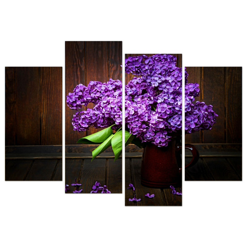 4 Panel Framed Art Purple Flowers Printed Painting Home Decoration Canvas For Living Room Wall