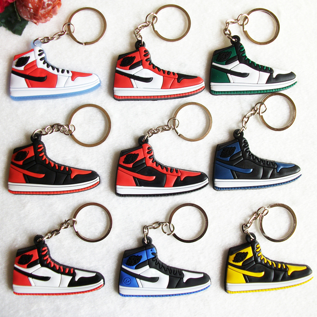 Mini Silicone Shoes Jordan 1 Keychain Key Chain Sneaker Car Key Holder  Woman Men Bag Charm afd827805