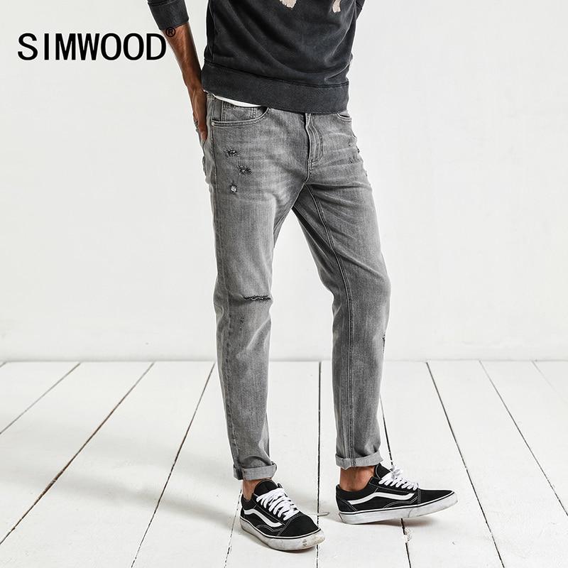 SIMWOOD New 2018 spring Jeans Men Fashion Slim Brand Clothing Denim Trousers Vintage Drawstring Plus Size Hole Jeans NC017023