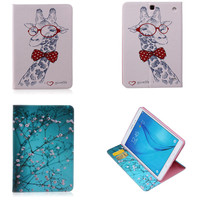 BF Colorful Painted Cartoon Flip PU Leather Stand Smart Tablet Case For Funda Samsung Galaxy Tab