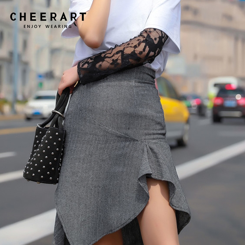 Cheerart Ruffle Skirts Womens Summer Grey High Waist A Line Skirt Vintage Split Wrap Korean Mini Skirt