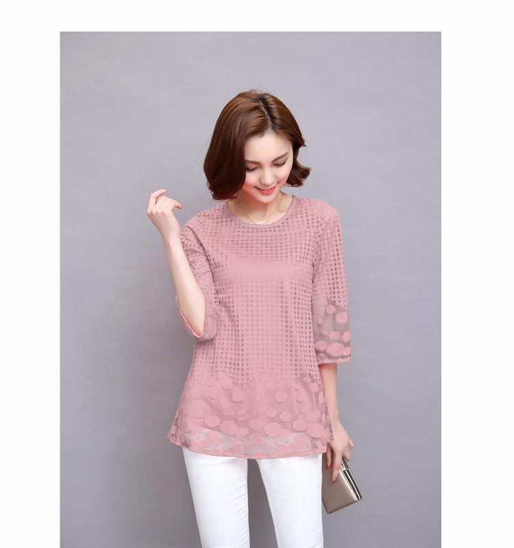 HTB1fmPzJVXXXXcPXpXXq6xXFXXXm - 3/4 Sleeve Lace Blouse Hollow Out Women Summer Blouses Shirts