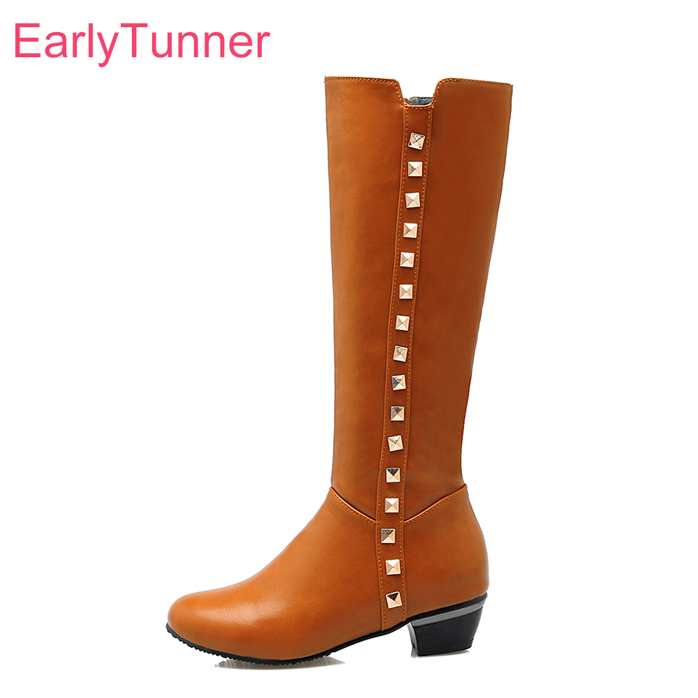 Brand New Winter Sales Yellow White Women Knee High Riding Boots Ladies Rivets Shoes ELK13 Chunky Heel Plus Big size 10 32 50 43