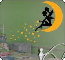Fairy Sitting on Moon Wall Sticker with Pixie Dust Stars Art Mural Kids Girls Bedroom Decal Nursery Decor AY0154