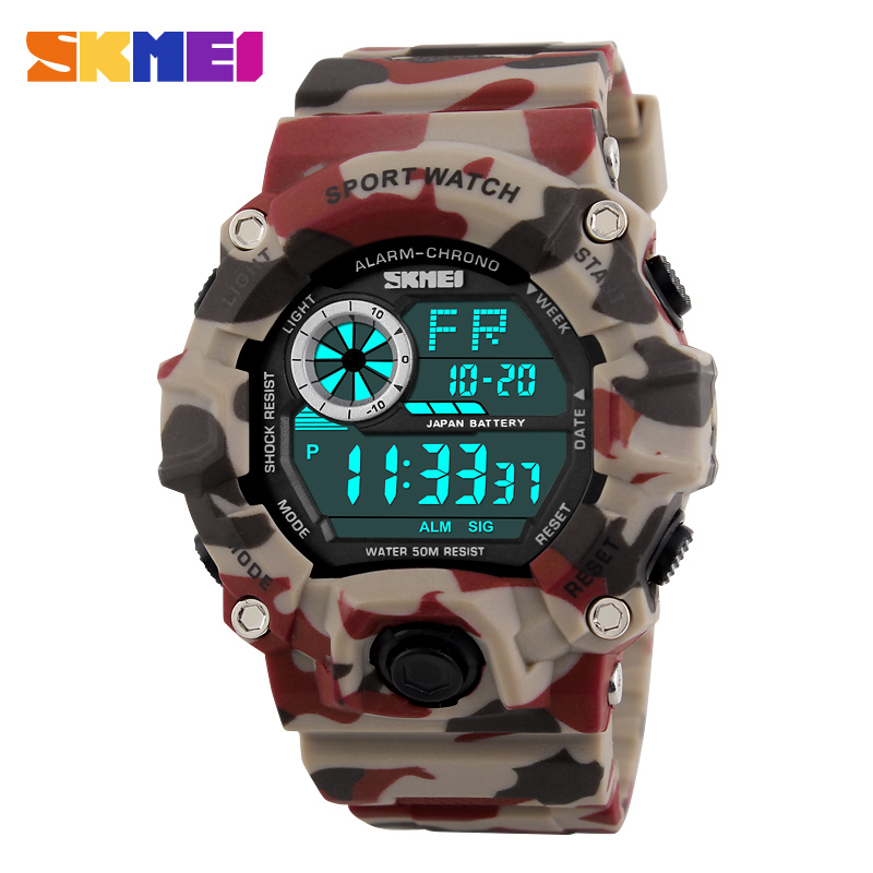 Skmei g estilo mens relojes deportivos cronógrafo militar camuflaje a prueba de golpes de pulsera digital homme montre saat erkek