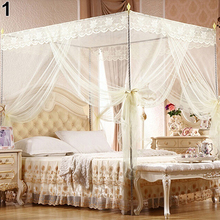 BLUELANS Mosquito Net Princess Lace Four Corner Post Student Canopy Bed for Twin Full Queen King Drop Shipping