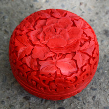 Exquisite Chinese Flower Red Cinnabar Lacquer Beautiful Auspicious Jewelry Box