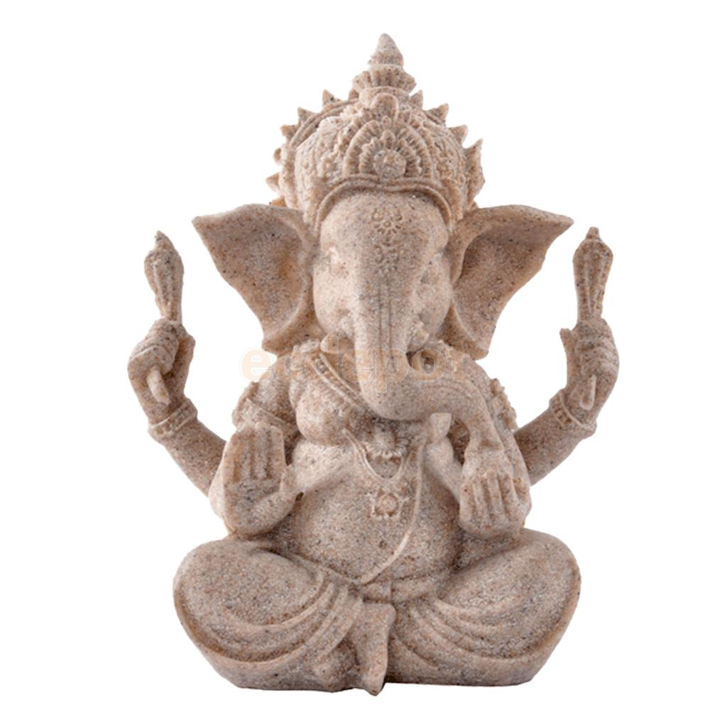 MagiDeal Hand Carved Sandstone Seated Ganesh Buddha Deity Elephant Hindu Statue Decor Fantastic Good Condition For Collection