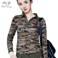 LIKEPINK 2017 Women Tops Spring Polo Shirt Camouflage Long Sleeve Cultivating Cotton Shirt Military Uniform Polo Femme M~3XL