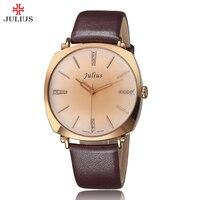 Julius Original Elegant Ladies Rhinestone Quartz Dress Watch Diamonds Genuine Leather Strap Women Exquisite Retro Wristwatches