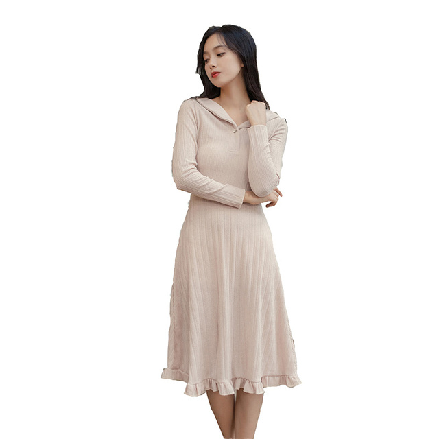 752456a6d963e Mori Girl Autumn Winter Women Knitted Dress V Neck Bodycon Slim Office Lady  Work Vestido Elegant Sweet Ruffles Korea Party Dress