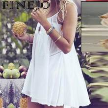 FINEJO Satin Sexy Fashion Sleeveless Strap Mini Spaghetti Dress O-Neck Loose New Casual Women(China)
