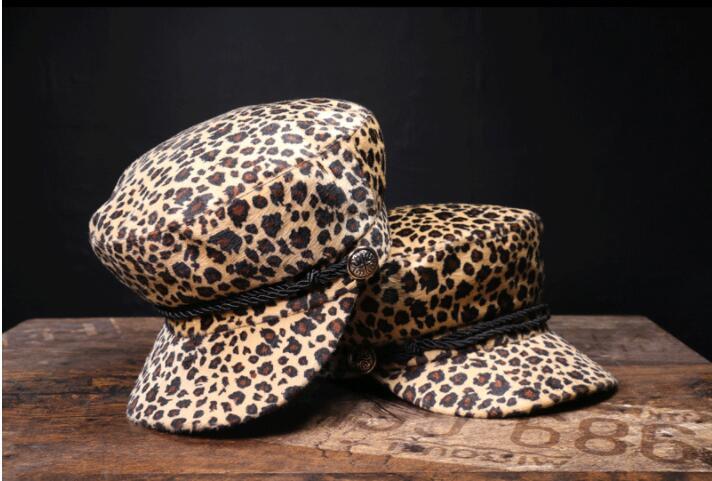 Vintage Wolle Leopard Print Kapitän Hut Frauen Seil Flache Top Winter Kappe Weibliche Casual Baseball Hüte Mode Kleidung Zubehör