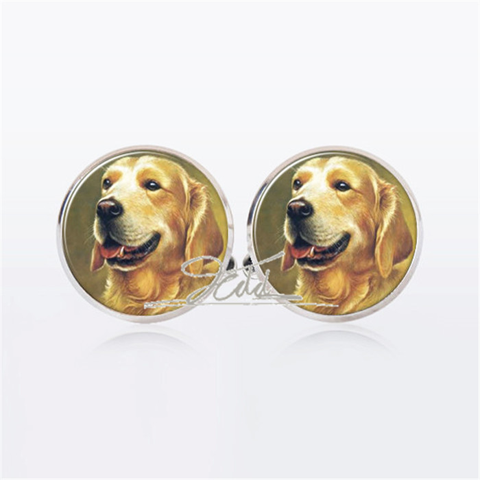 1 Pair Pets Animal Cufflinks My Dog Silver Plated Cufflinks Gifts for Him Groomsmen Wedding Jewelry Unisex Sleeve button
