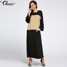 90677fc5a0e Celmia Women Long Maxi Dress 2018 Winter Long Sleeve Patchwork Back Keyhole  Pockets Casual Plus Size