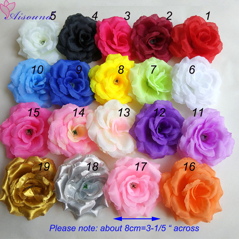 100pcs 8cm DIY Flower Rose wall flowers Handmade Craft Flowers Supplies Silk Rose Head Kissing Ball Flower fleurs artificielles