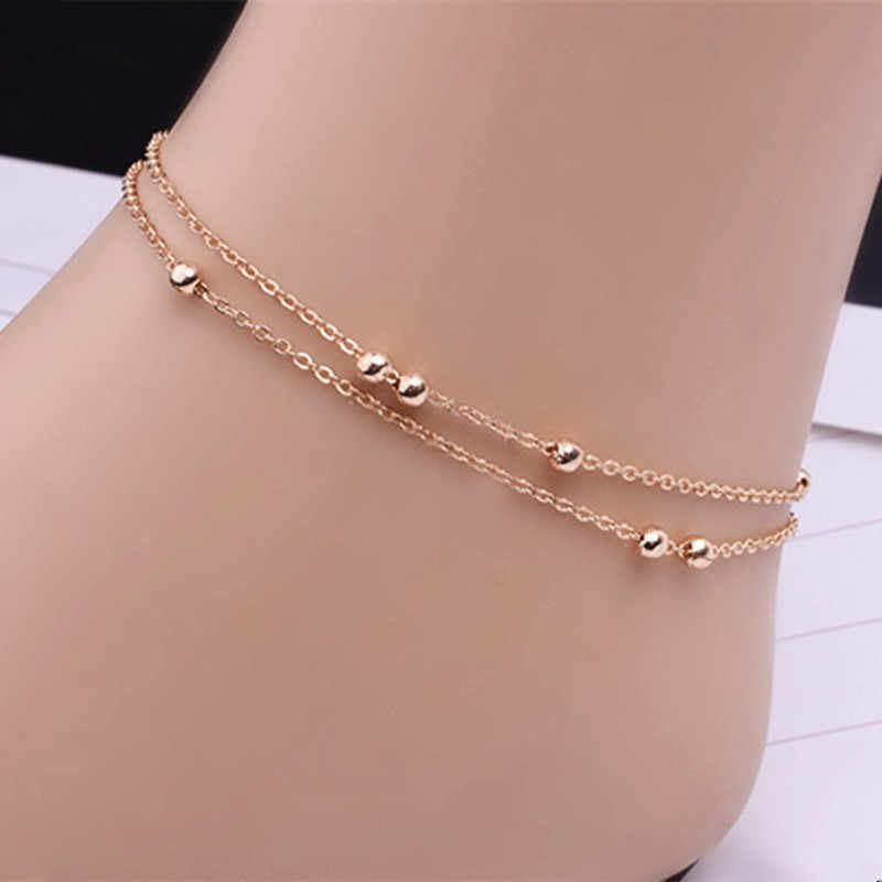 22b301f54 HOT Selling Metal Beads Anklets Bracelet Luxury Gold Silver Color Foot  Chain Jewelry For Women