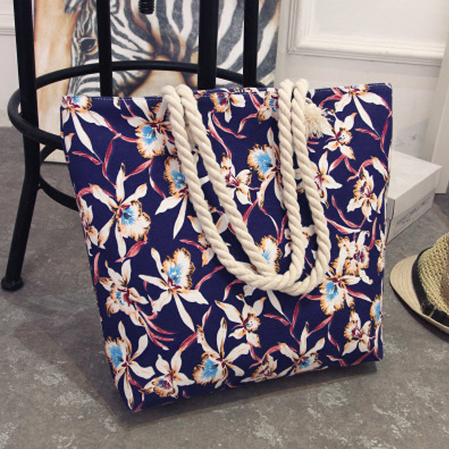 2017 New Summer Women Canvas bohemian style striped Shoulder Beach Bag Female Casual Tote Shopping Big Bag floral Messenger Bags