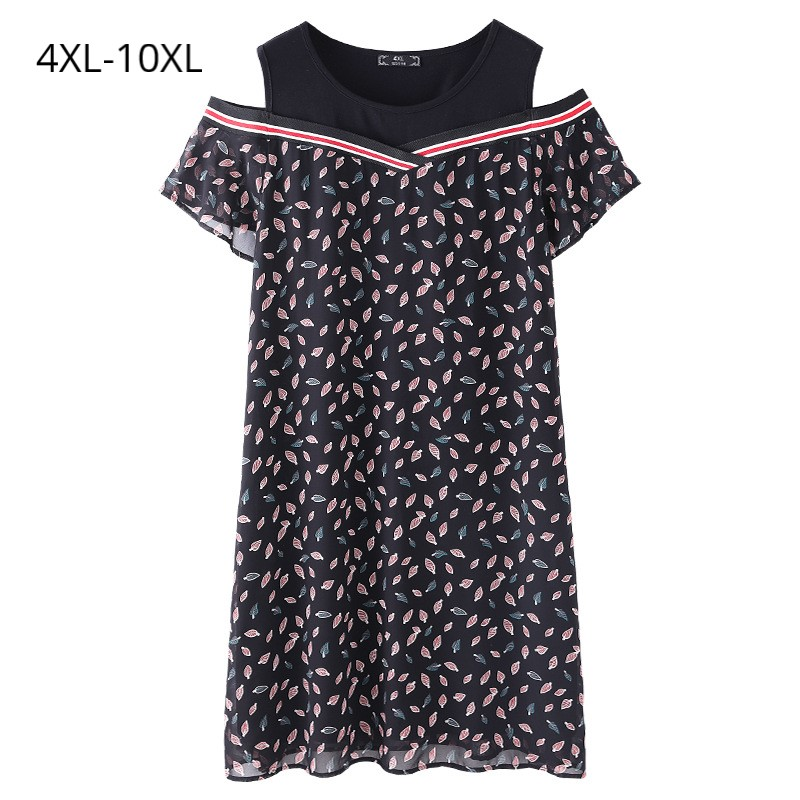 Fashion Women Short Sleeves Summer Dresses Print Chiffon&Black Patchwork Loose Tops Plus Size 10XL 9XL 8XL 4XL Clothing