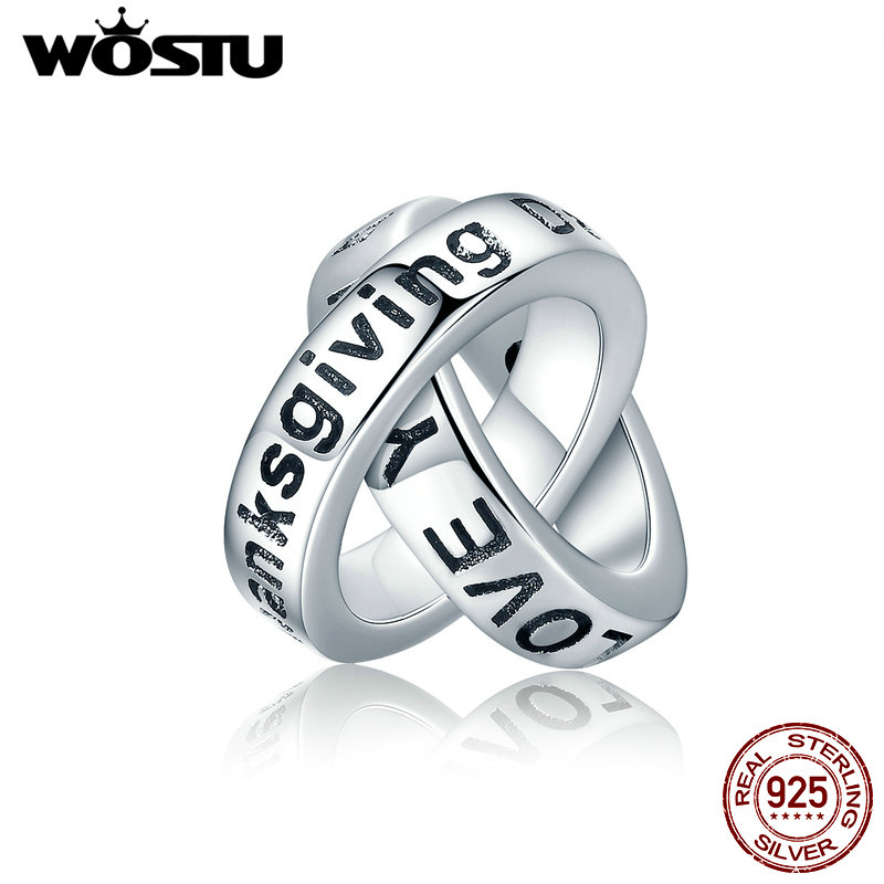 WOSTU Real 925 Sterling Silver Thanksgiving Has You Beautiful blessing Charm Fit WST Bracelet For Women Jewelry Gift CQC227