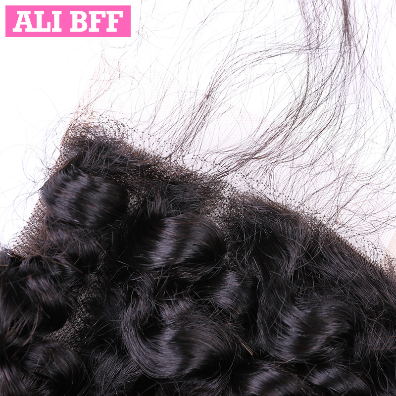 ALI BFF Brazilian Deep Wave Bundles With Closure 4*4 Lace Closure Human Hair With Bundles Remy Hair Free Part Can Be Dyed