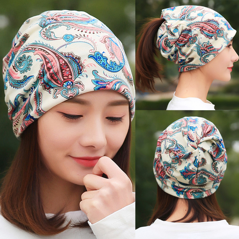 LongKeeper Women's Hat Cotton Beanies Scarf Ladies Flower Bamboo Leaf Headscarf Spring Autumn Winter Hip Hop Caps For Girl