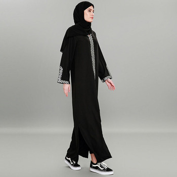 Fashion women muslim plus size 7xl black patchwork hooded abaya dress