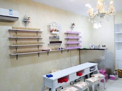 Nail Shop Shelves Wooden Clapboard Nail Polish Display