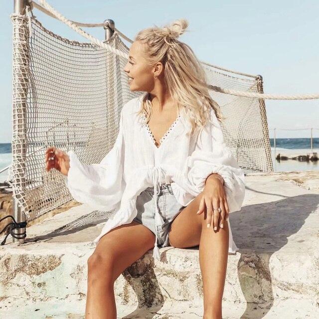 Pure White Ruffle Boho Lady's Blouse Top Women's Retro Billow Long Sleeve V neck Sexy Shirt Ladies Casual Beach Wear Tunic Lady