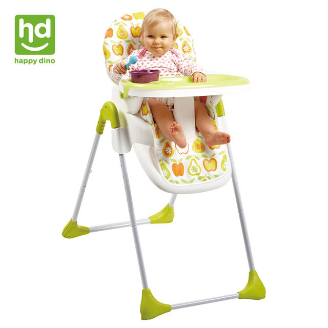 portable folding high chair office bed happy dino multifunction baby dining adjustable infant fedding snack tray detachable