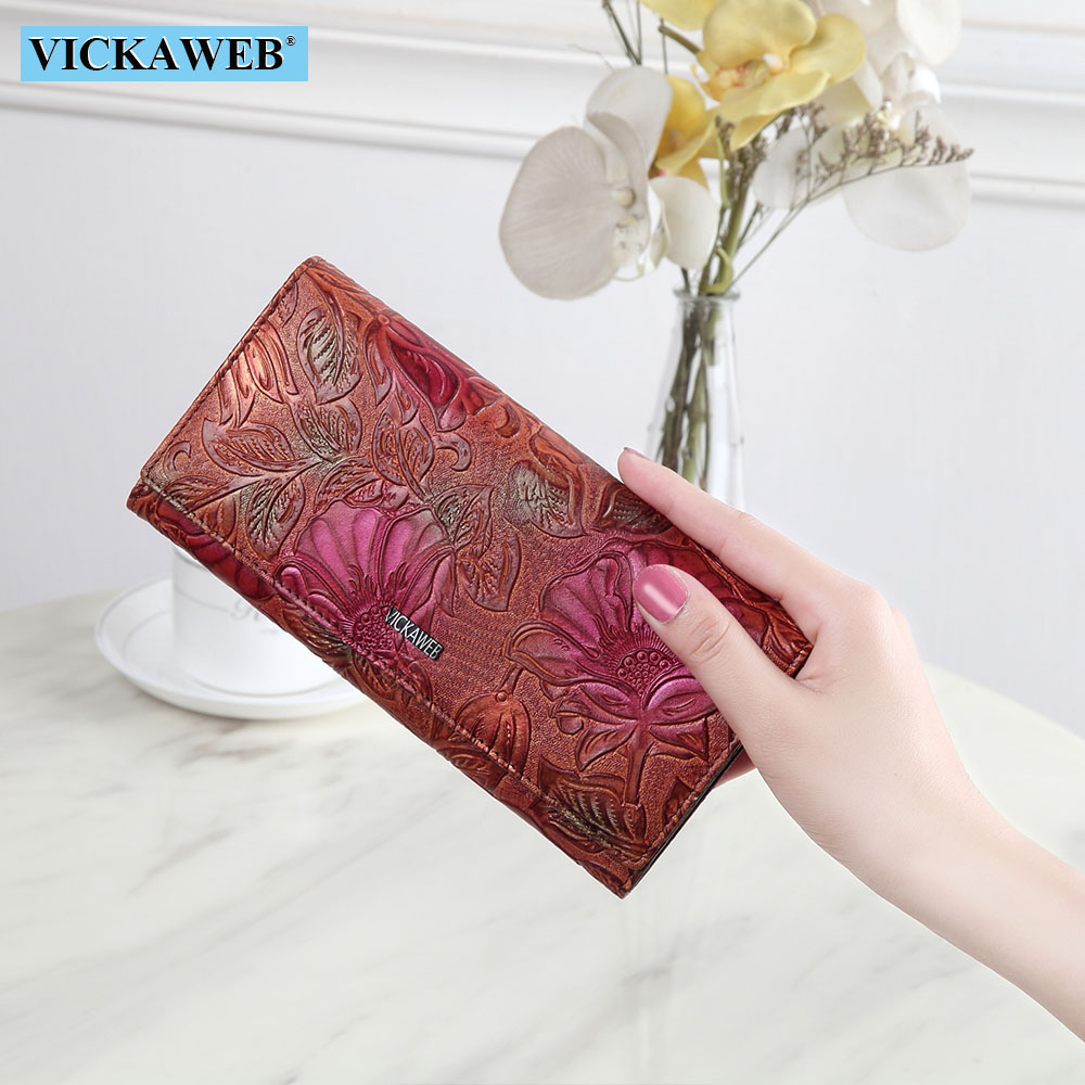 VICKAWEB Purse Female Brand Wallet Fashion Flora Ladies Wallet Genuine Leather Long Hasp Women Wallets Fashion Flowers Purses