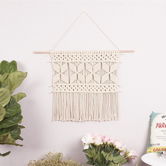 macrame wall hanging nordic wind pure hand-woven tapestry wall painting American minimalist distribution box home decor