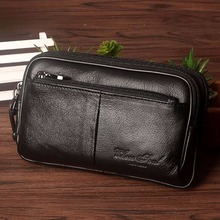 High Quality Real Genuine Leather Men Clutch Waist Bag Cell/Mobile Phone Case Hip Belt Purse First Layer Cowhide Hook Fanny Pack