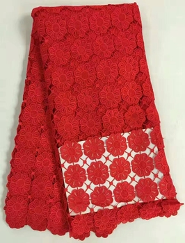 high quality african cord lace fabric/ water souble chemical French net lace fabric 5yards.lot free shipping red