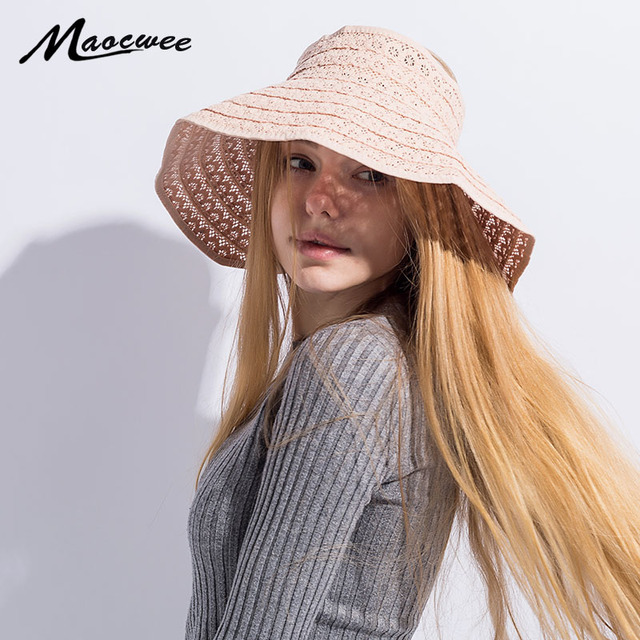 Summer Panama Girl Sun Hat UV Protection Empty Top Wide Brim Women Cap Lace  Hollow Breathable Sun Hat Folded Floppy Cap Bone New f8a66e2f17