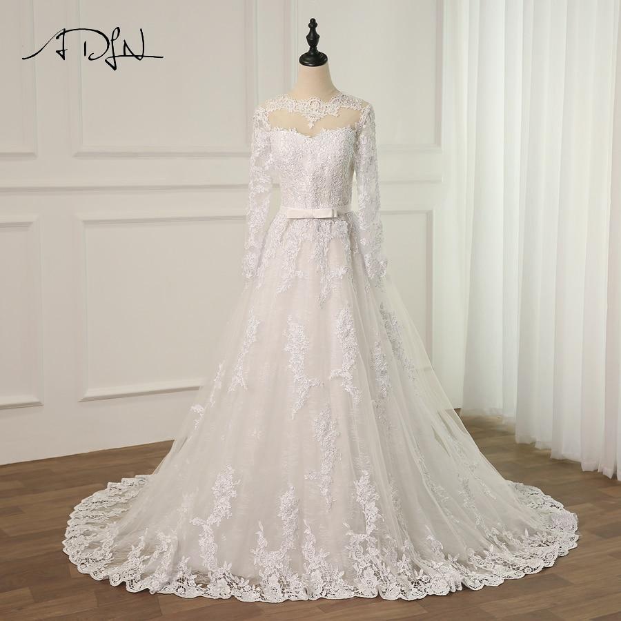 Elegant Long Sleeve Wedding Dresses Muslim Dress 2015: ADLN 2019 Elegant Long Sleeve Lace Muslim Wedding Dress