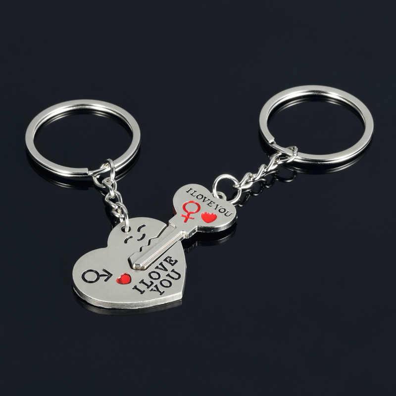 2 шт./1 пара романтическая пара ключ сердце я люблю тебя кулон брелок кольцо брелок для ключей любовники друг подарок