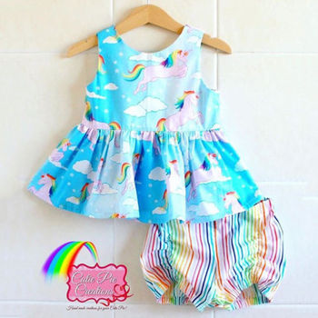 Rainbow Unicorn Tops Dress Striped Shorts Pants