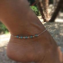 цена на AK012 Anklet Bracelet Turquoise Anklets Silver Chain Anklet Chain Bracelet On a Leg Foot Jewelry tornozeleira prata
