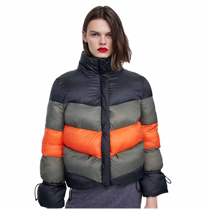 2019 New Winter Stand collar   Parkas   Women Thicken Down cotton jacket Short Coat Casual Students Stripe Splicing Plus size G485